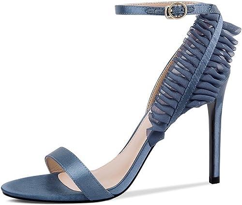 JIANXIN été Femme Sandales Sandales Mode Talons Stiletto Cuir Toe Sandales Sangle Femmes Chaussures (Couleur   Bleu, Taille   EU 37 US 6 UK 4 JP 24cm)  avec le prix bon marché pour obtenir la meilleure marque