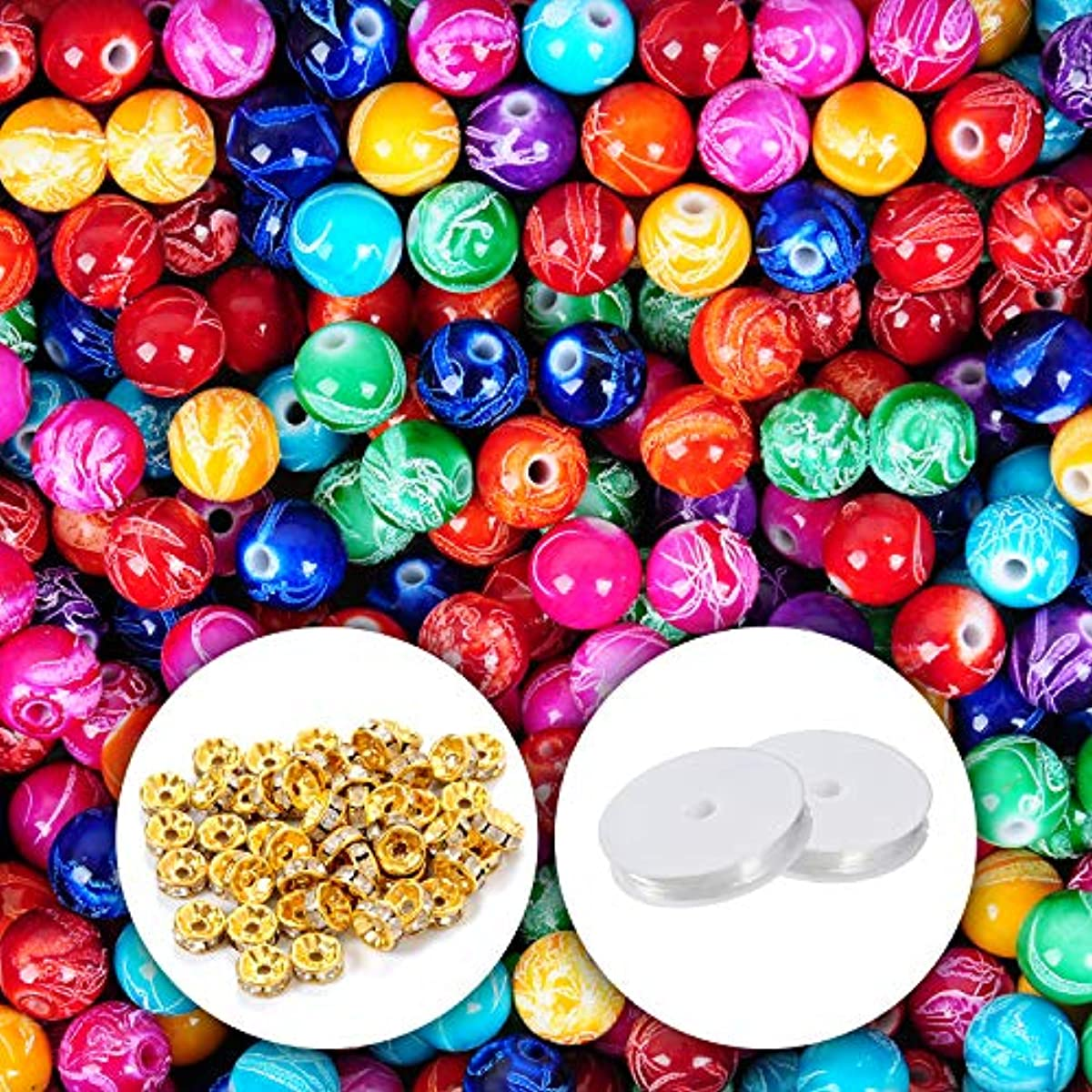 YUEAON 300pcs 10mm Painted Acrylic Beads with 50pcs Crystal Spacer Beads for Bracelet Necklace Jewelry Making Supplies Craft (10MM)