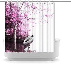 Artsbay Shower Curtain Pink Bloosom Tree Room Curtain for Woman Bathroom Decor Boat Scenery Bath Curtain Set Waterproof Fabric Bath Curtain with Hooks