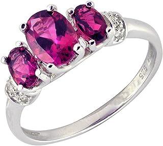 Ivy Gems 纯银粉色电气石钻石戒指