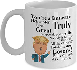Donald Trump Coffee Mug - 11 Oz Tea Cup Gift Ideas for Helicopter Pilot Birthday Christmas President Conservative Republican