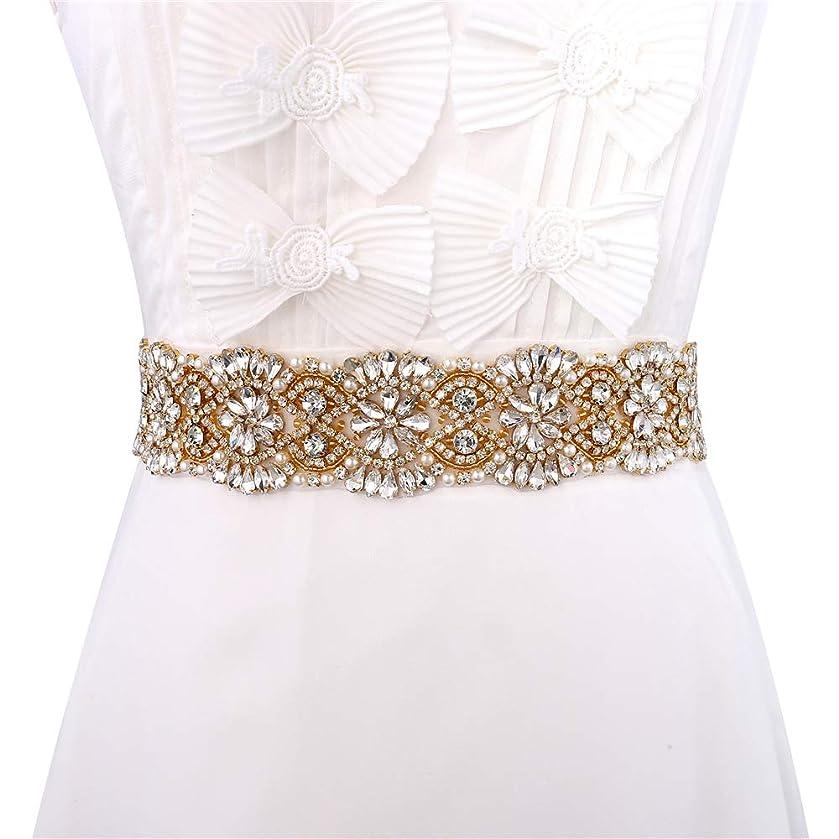 XINFANGXIU Wedding Bridal Sash Crystal Belt Rhinestone Applique Pearls Beaded Sewn Iron on for Formal Gown Dress (Gold-3)