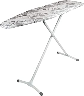 Homz Contour Charcoal Grey Cover Stable Ironing Board, White Marble