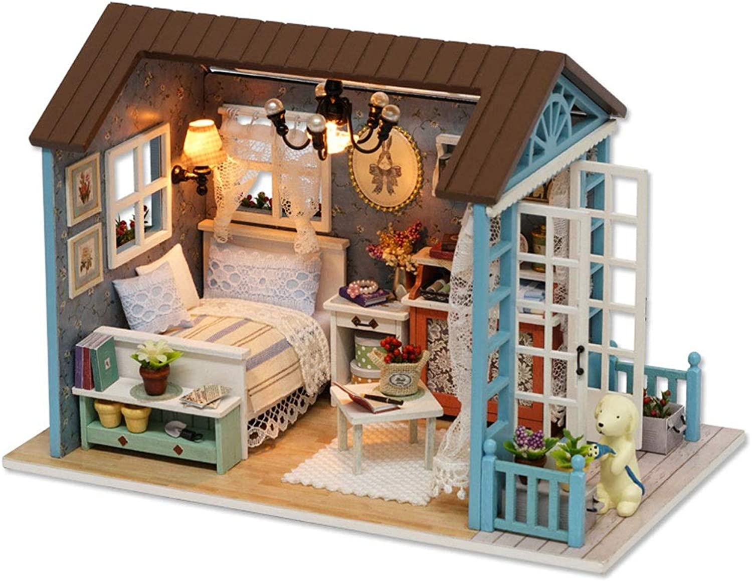 Excellent House Miniature Dollhouse Kit Diy Time Bluee Sen Gift Download Free Architecture Designs Viewormadebymaigaardcom