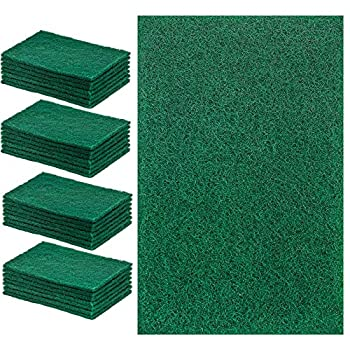 DecorRack 28 Extra Large Cleaning Scouring Pads for Kitchen Dishes Bathroom Household Large Heavy Duty Non Scratch Scour Pad Scrubber Sponge Dish Pads Green  Pack of 28