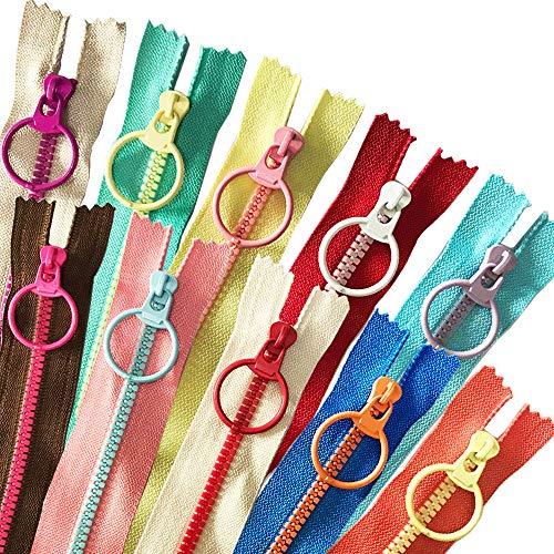 HuLuBB 20 cremalleras de resina plástica, 10 cremalleras Tirador de anillo de metal usado para coser artesanías bolsa de ropa (20 cm)