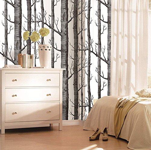 COUTUDI Birch Tree Wallpaper for Living Room Bedroom TV Background (20.86'' x 393.7'')