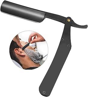 Men Shaving Razor, Straight Edge Shaving Knife Stainless Steel Folding Barber Razor Shaver Beard Removal Tool(Black)