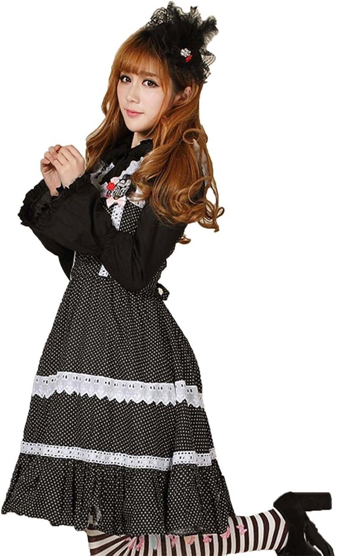 Ainclu Women's White Dots On Black Polyester Soft Adorable Sweet Cute Wrinkled Slim Princess Lolita Dress