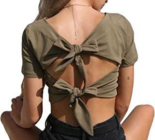 S-Fly Women's V Neck Short Sleeve Open Back Sexy Crop Tops Back Knot Blouse T-Shirts