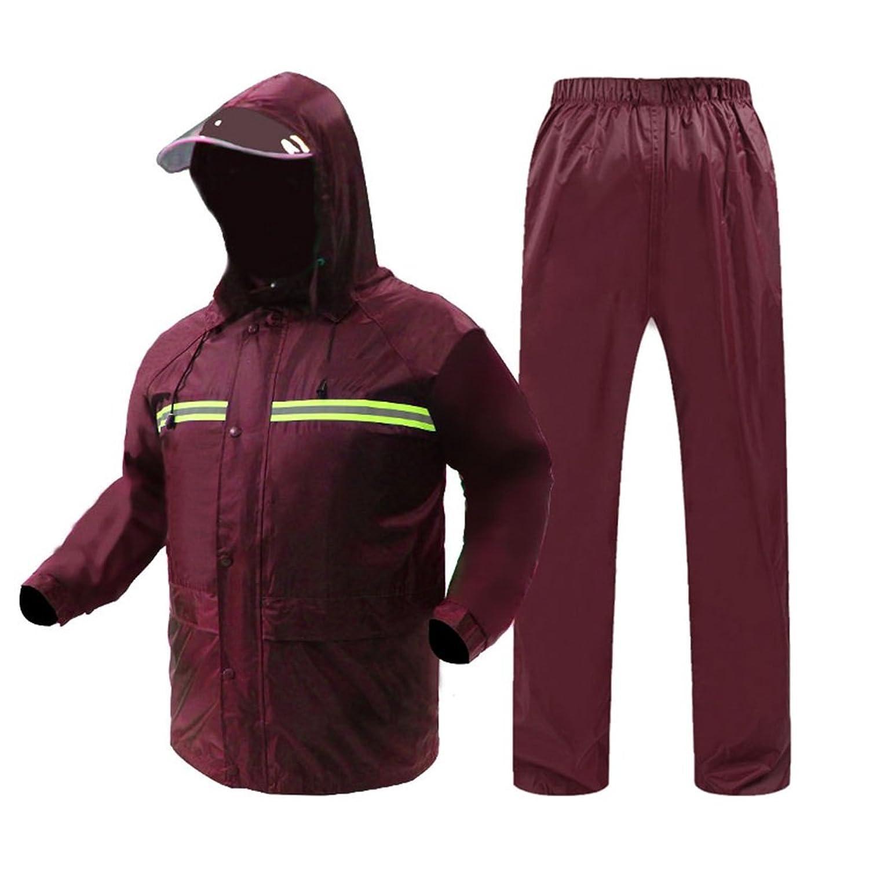 ZEMIN ポンチョ レインウェア レインコート ポンチョ ウインドブレーカー 防水 カバー ライディング 大人 ファッション ズボン セット ポリエステル、 2色、 6サイズあり (色 : Red, サイズ さいず : XL)