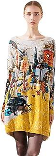 Muzboo - Suéter de punto flojo para mujer de gran tamaño con cuello de barco