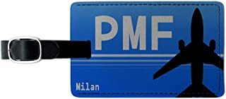 Milan Italy - Parma (PMF) Airport Code Leather Luggage ID Tag Suitcase Carry-On