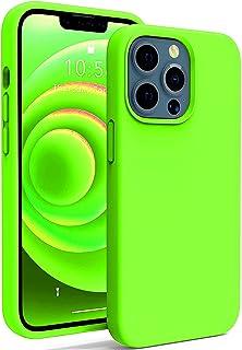 جراب سيليكون ببطانة من المايكروفايبر لابل ايفون 13 برو ماكس 6.7 بوصة (اخضر ليموني)