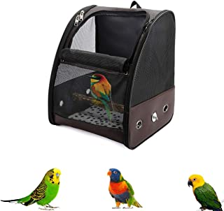 C&W Bird Carrier with Wooden Stand Bird Travel Cage Leather Pet Travel Carrier Small Parrot Supplies, 13 x 11x16 in