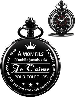 Montre De Poche -ManChDa Montre De Poche Gravée d'un Père/Maman à Un Fils Cadeau Montre De Poche à Quartz Noir