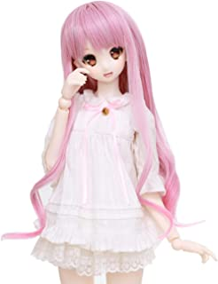 Wigs Only 8-9 inch 1/3 BJD Wig Doll Hair SD DZ DD DOD Wig (Pink+White)