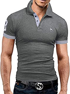 STTLZMC Mens Casual Slim fit Polo with Fashion Embroidery T-Shirts