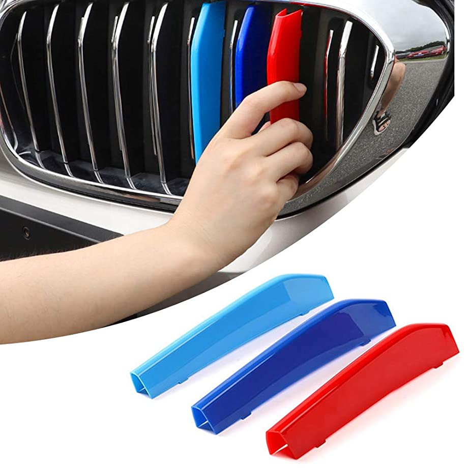for 07-18 BMW 5 Series G30 G38 G31(9Grilles one Side) 3D M Styling 3 Colors Front Grille Trim Motorsport Stripes Grill Cover Performance Stickers 3Pcs