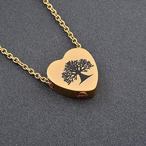 FRDXDAF Collar Conmemorativo De Cenizas Urna Corazón Colgante Collar Señora Cenizas Árbol De La Vida De Acero Inoxidable Urna Jewelry-A