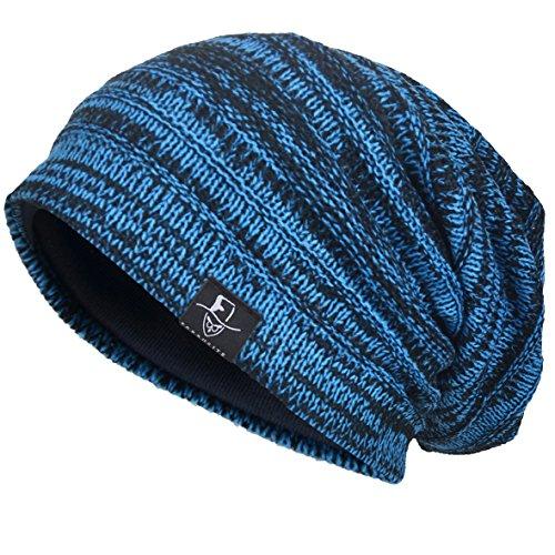 VECRY Herren Slouchy Stricken Übergroße Beanie Skull Caps Künstlerische Hüte (Blau)