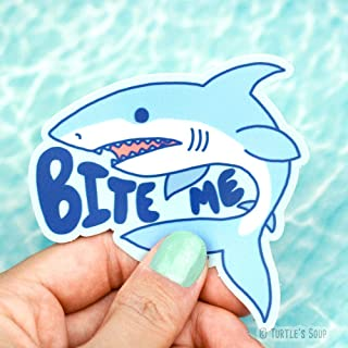Funny Decals, Bite Me, Shark Sticker, Surfboard Sticker, Car Decal, Great White, Beach Stickers