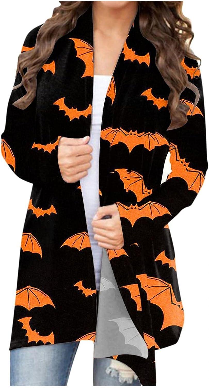 Halloween Cardigan for Women, Women's Hoodies Bat Printed Novelty Sweatshirts Casual Pullover Tops Shirts