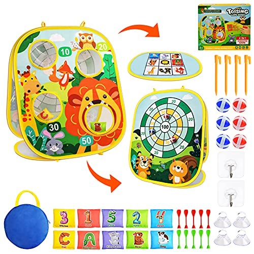 4 in 1 Bean Bag Toss Game for Kids Outdoor Toys, Sticky Balls Darts Sets, Foldable Cornhole Games Camping Toys Gifts for Toddler Boys Girls Ages 2-8, Educational Toys for Party Outside Yard Lawn Beach