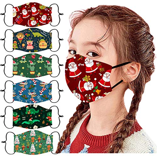6 Pc Santa Print Face_Mask for Children,Adjustable Ear Loop Washable Reusable Face Coverings for Christmas Shown, E