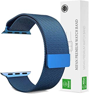 Mifan Official Milanese Loop Band for Apple Watch 40mm/38mm Series 1/2/3/4 Replacement Strap Blue Mesh Stainless Steel Ant...