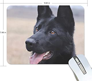 BlueViper Black German Shepherd Dog Mouse Pad Smooth Surface Gaming Pad Thick Non-Slip Rubber Base Colorful Cute Design Art Artist Painting Unique Novelty Gift for School Office Game