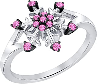 0.28ctw Round Created Pink Sapphire 14K White Gold Plated Wedding Frozen Snowflake Ring For Women