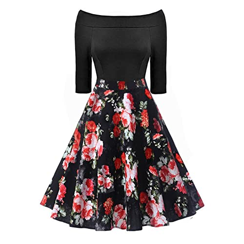 65abf5feac BILIKE JOMEX Vintage Floral Printed Swing Cocktail Party Dress