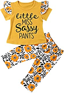 Miwear Infant Baby Girls Clothes Letter Print Long Sleeve T Shirt Top + Floral Long Pants 2 Pieces Outfit Set