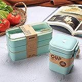 laoga Bento Box Estilo japonés Bento Lunch Box para niños Almacenamiento Contenedor de Alimentos Eco Friendly Food Box Tuperware Lunch Contenedor Healthy-F_Set