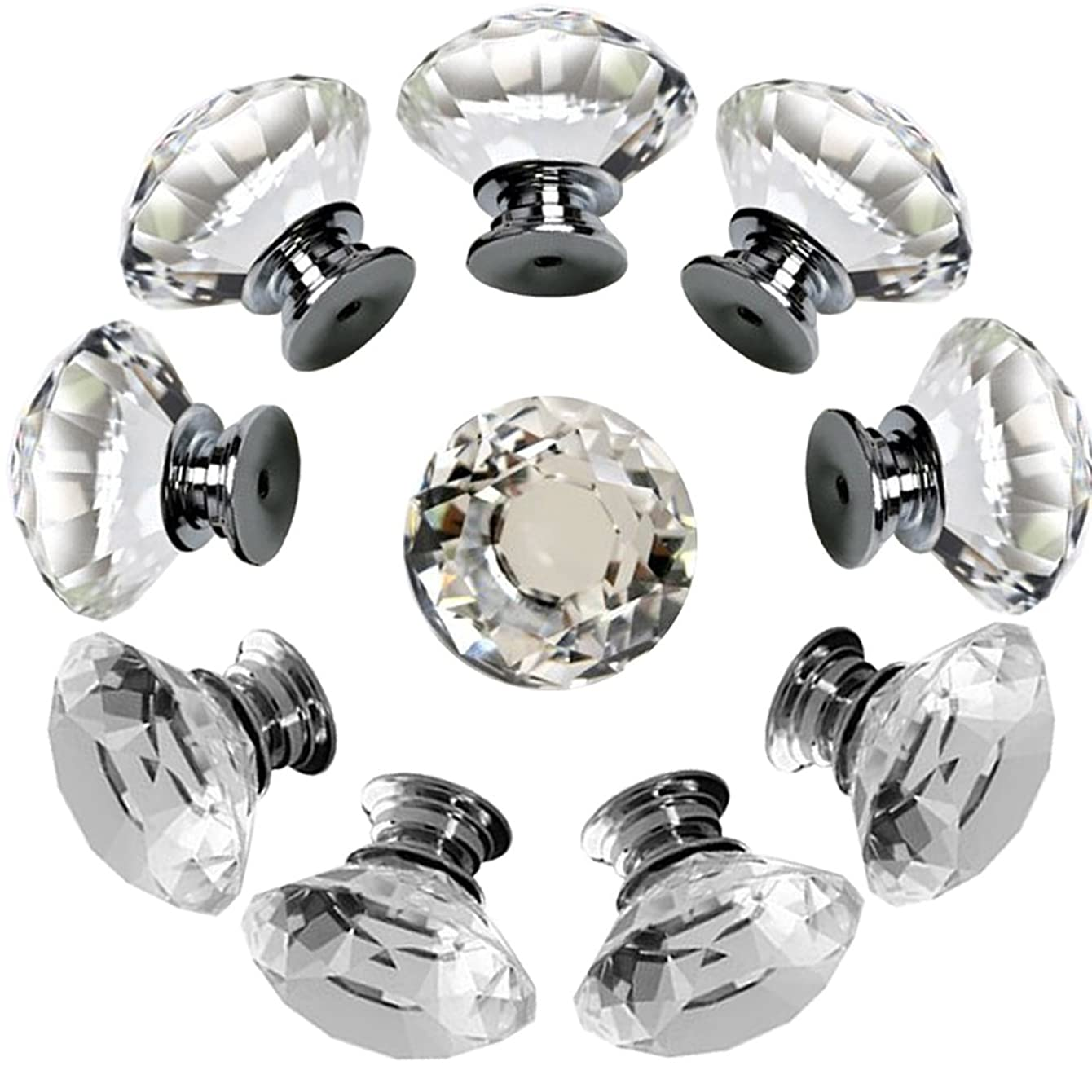 Drawer Knob Pull Handle Crystal Glass Diamond Shape Cabinet Drawer Pulls Cupboard Knobs with Screws for Home Office Cabinet Cupboard Bonus Silver Screws DIY (10 Pieces) ovzgdlomzfosw69