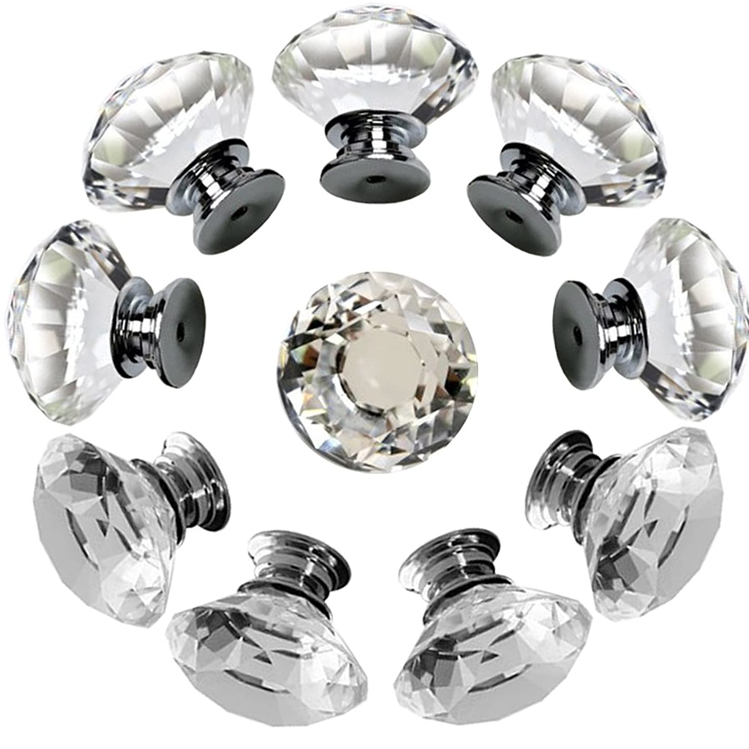 Drawer Knob Pull Handle Crystal Glass Diamond Shape Cabinet Drawer Pulls Cupboard Knobs with Screws for Home Office Cabinet Cupboard Bonus Silver Screws DIY (10 Pieces) crybscaiiarog5