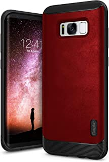 Ringke Flex S Compatible with Galaxy S8 Plus Case Classy Slim Look Flexible TPU Premium Hard PC Leather Hybrid Protection Non Slip Tactile Grip Scratch Resistant for Galaxy S8 Plus - Red
