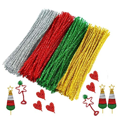 Drimoor Craft Pipe Cleaners, 400PCS Glitter Chenille Stems for DIY Art Creative Crafts Decorations (6 mm x 12 Inch)