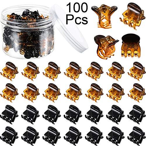 100 Stücke Mini Haarklammern Kunststoff Haarklammern Stifte Klemmen mit Einer Box Kleine Haarklammern für Mädchen und Damen, Schwarz und Braun