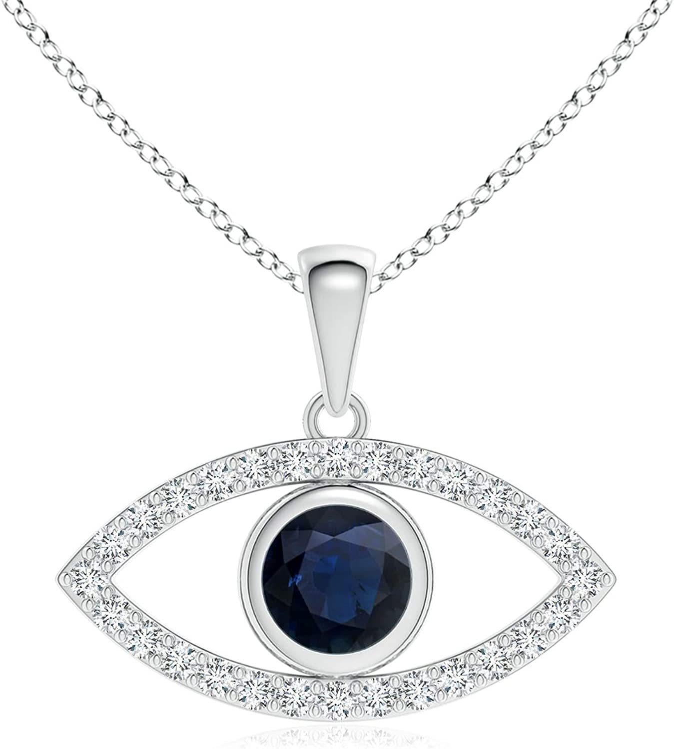 High order Blue Sapphire Evil Eye Pendant Diamond Accents with 4.5mm Inexpensive
