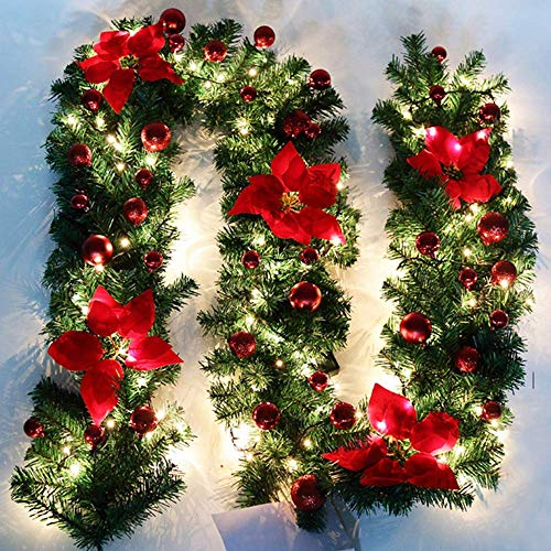 summerkimy 9ft Pre-lit Christmas Decorated Garland Christmas Decoration for Stairs Fireplace Illuminated Led Light with Multicolor, Red Baubles Flowers Artificial DIY Garland Wreath Xmas 2.7M (Red)