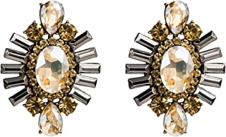 JUYOUSHENG European and American geometrical total diamond earrings exaggerated acrylic diamond temperament earrings INS wind ear studs with women (Color : Gold)
