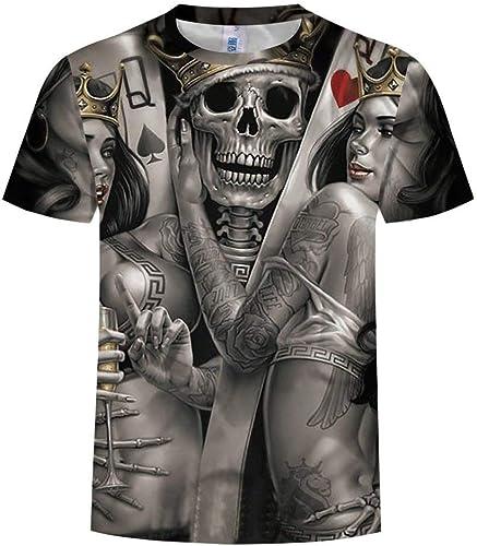 14EU-Haucalarm T-Shirt 3D Homme T-Shirt à Manches Courtes Imprimé Skull Poker