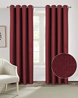 Alexandra Cole Burgundy Christmas Curtains for Living Room Bedroom Textured Curtains 84 Inch Length Casual Faux Linen Burlap Room Darkening Window Curtains 2 Panels