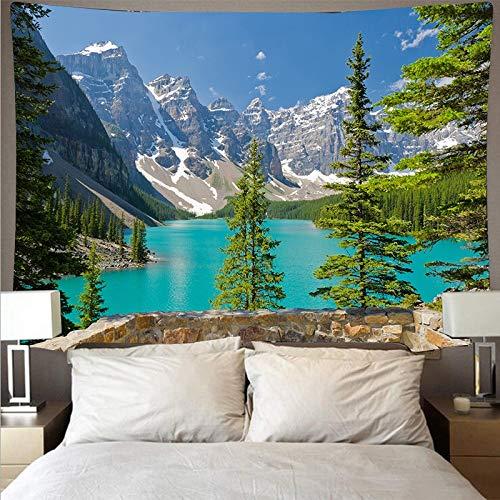 Montaña ondulada bosque lago paisaje tapiz arte psicodélico colgante de pared manta fina tapiz de yoga tela de fondo A1 180x230cm