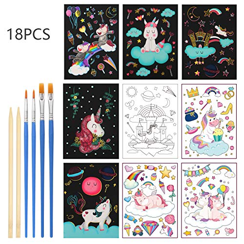 18 hojas Scratch Art para Niños Unicornio LANMOK Papel de Arte para Rascar Manualidades Dibujo Scratch Láminas Arcoiris para Fiesta Cumpleaños Infantiles Premios Clases de Pintura