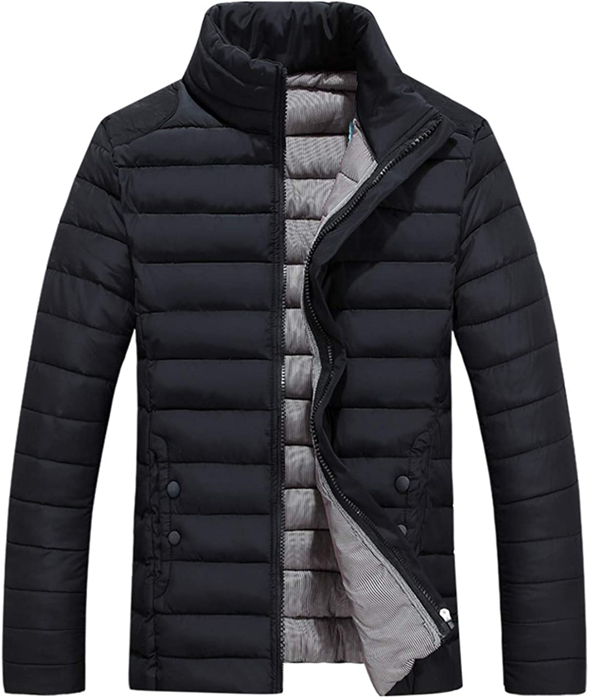 Lentta Men's Casual Full Zip Stand Collar Quilted Down Cotton Jacket Coat