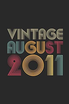 Vintage August 2011: Graph Ruled Notebook / Journal (6 X 9 - 5 X 5 Graph Ruled) – August Birthday Gift and August Anniversary Gift