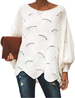 Women Sweaters Batwing Sleeve Overiszed Hollow Knit Pullover Jumper Tops